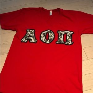 AOII Paisley Stitched VNeck Tee